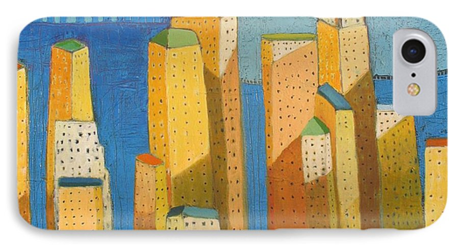 Abstract Cityscape IPhone 7 Case featuring the painting Standing High by Habib Ayat