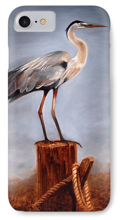 Heron IPhone 7 Case featuring the painting Standing Watch by Greg Neal