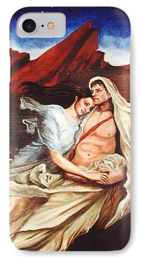 Portrait IPhone 7 Case featuring the painting Star Crossed Lovers by Teresa Carter