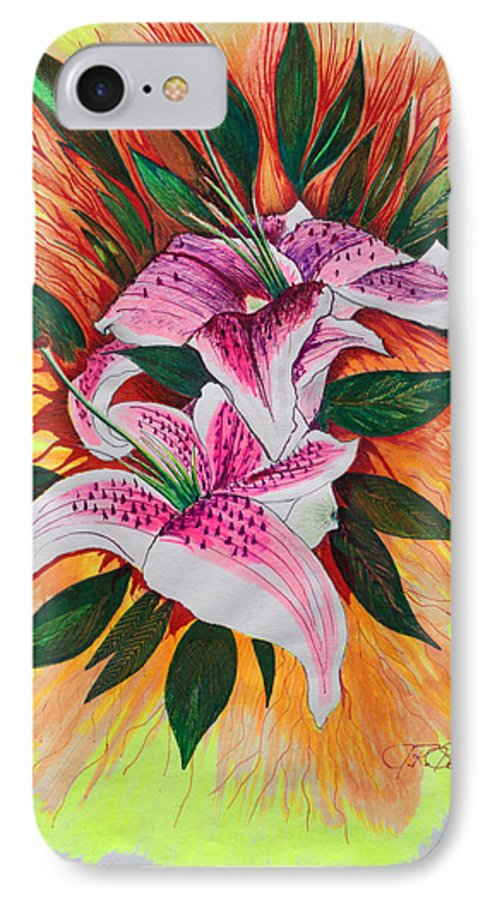 Flowers IPhone 7 Case featuring the drawing Stargazers by J R Seymour