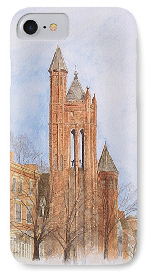 Gothic IPhone 7 Case featuring the painting State Street Church by Dominic White