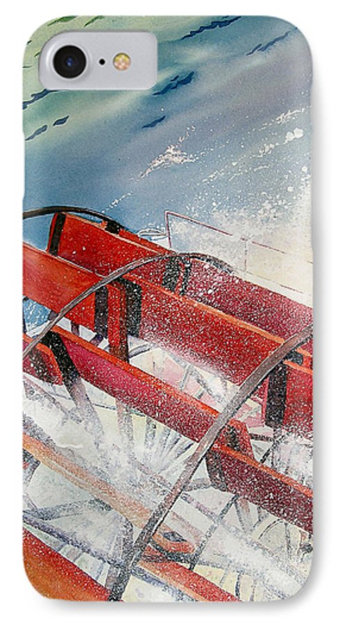 Paddlewheeler IPhone 7 Case featuring the painting Sternwheeler Splash by Karen Stark