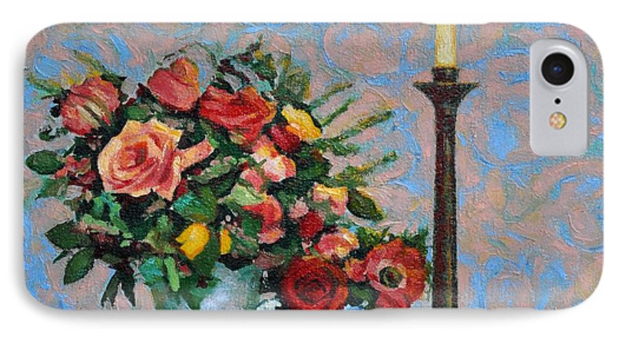 Flowers IPhone 7 Case featuring the painting Still Life With A Lamp by Iliyan Bozhanov