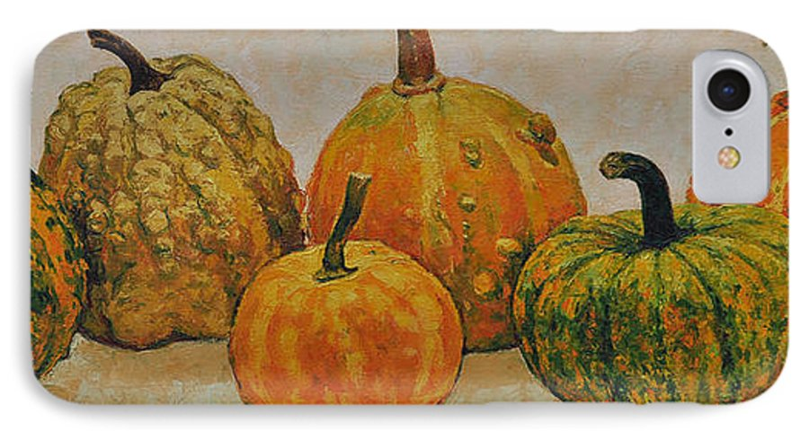 Still Life IPhone 7 Case featuring the painting Still Life With Pumpkins by Iliyan Bozhanov