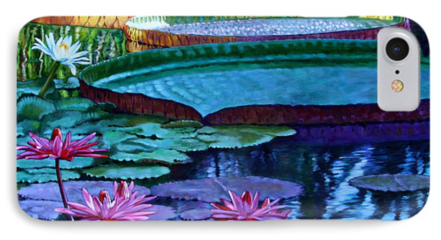 Garden Pond IPhone 7 Case featuring the painting Stillness Of Color And Light by John Lautermilch