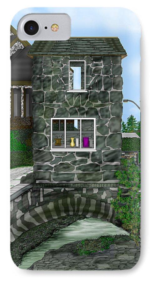 Landscape IPhone 7 Case featuring the painting Stone Bridge House In The Uk by Anne Norskog