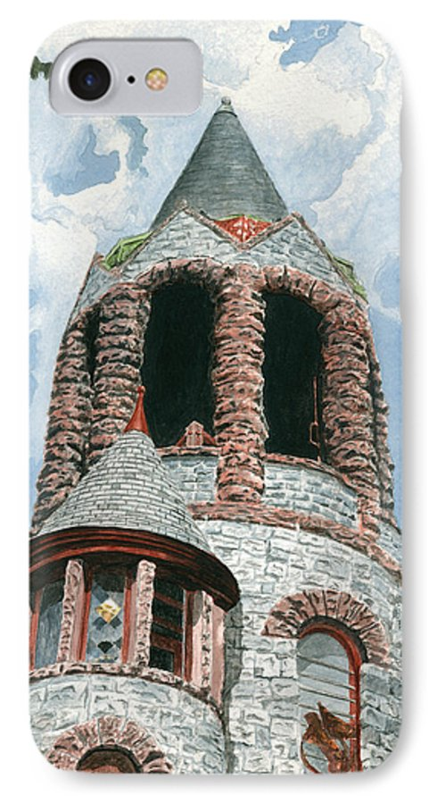 Church IPhone 7 Case featuring the painting Stone Church Bell Tower by Dominic White