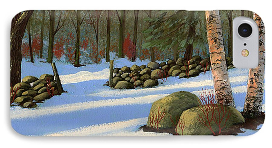 Landscape IPhone 7 Case featuring the painting Stone Wall Gateway by Frank Wilson