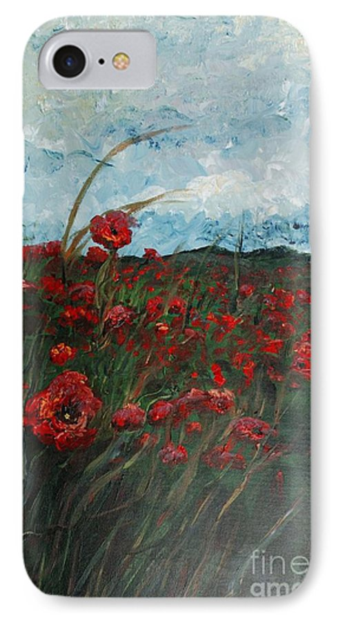 Poppies IPhone 7 Case featuring the painting Stormy Poppies by Nadine Rippelmeyer