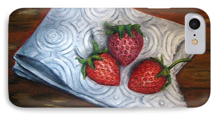 Strawberries IPhone 7 Case featuring the painting Strawberries-3 Contemporary Oil Painting by Natalja Picugina