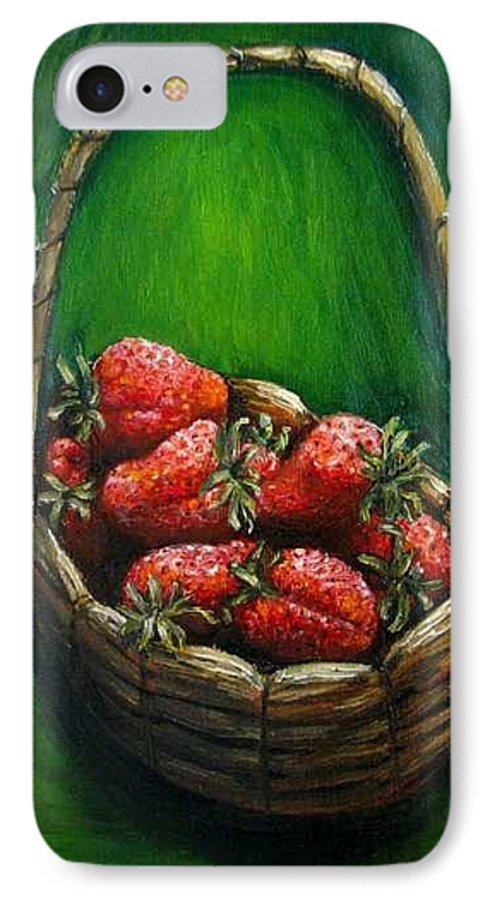 Strawberries IPhone 7 Case featuring the painting Strawberries Contemporary Oil Painting by Natalja Picugina