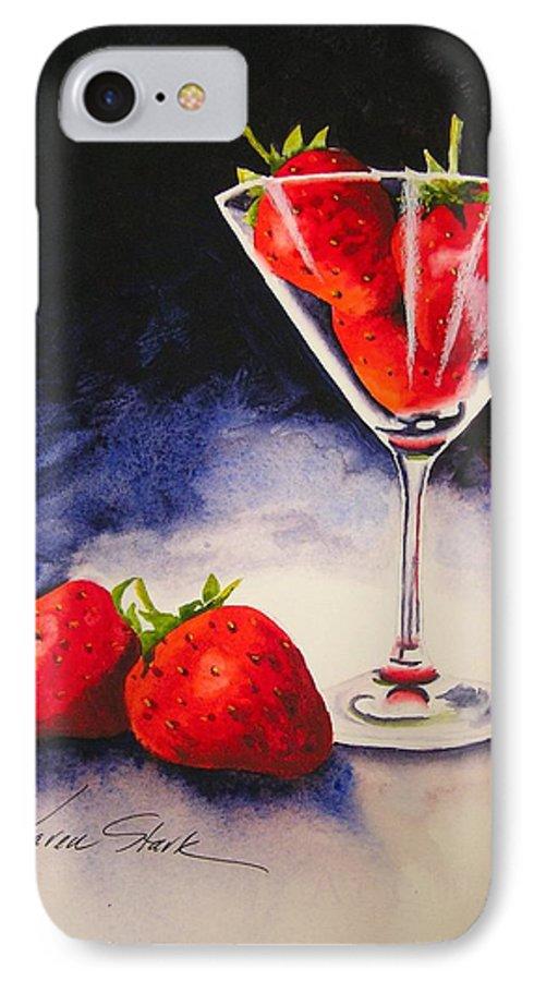 Strawberry IPhone 7 Case featuring the painting Strawberrytini by Karen Stark