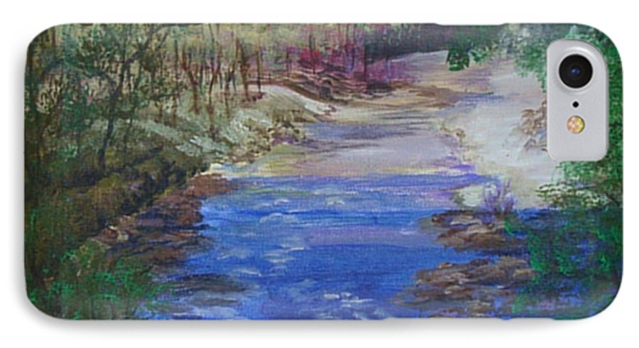 River IPhone 7 Case featuring the painting Stream At Yosemite by Quwatha Valentine