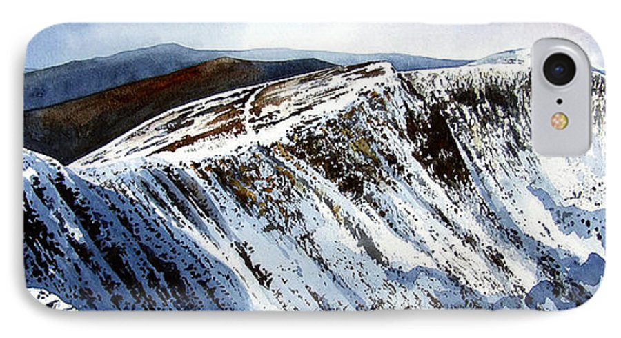 Helvellin IPhone 7 Case featuring the painting Striding Edge Leading To Helvellin Sumit by Paul Dene Marlor