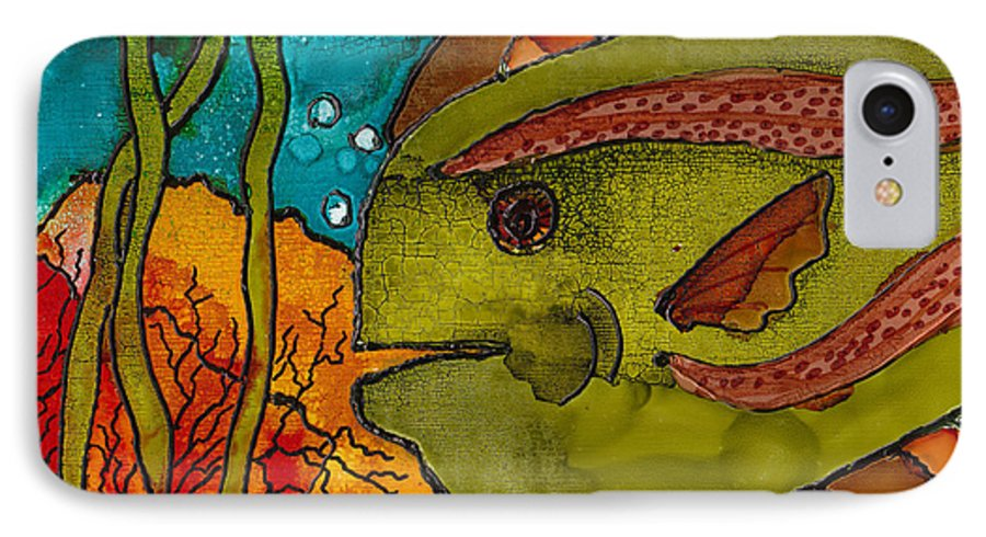 Fish IPhone 7 Case featuring the painting Striped Fish by Susan Kubes