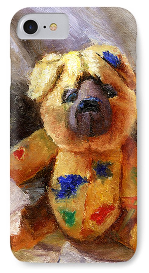 Teddy Bear Art IPhone 7 Case featuring the painting Stuffed With Luv by Chris Neil Smith
