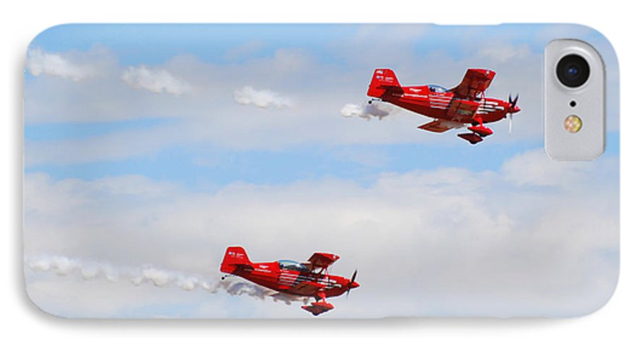 Stunts IPhone 7 Case featuring the photograph Stunt Pilots by Larry Keahey