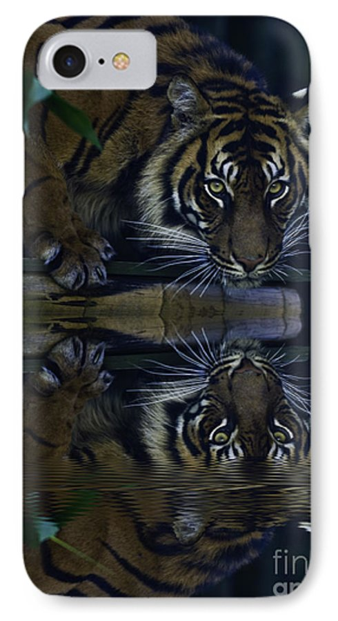Sumatran Tiger IPhone 7 Case featuring the photograph Sumatran Tiger Reflection by Sheila Smart Fine Art Photography