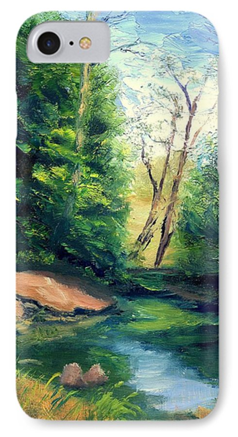 Landscape IPhone 7 Case featuring the painting Summer At Storm by Gail Kirtz