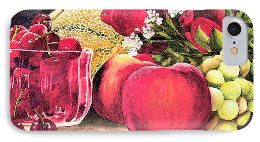 Cherries IPhone 7 Case featuring the painting Summer Bounty by Karen Stark