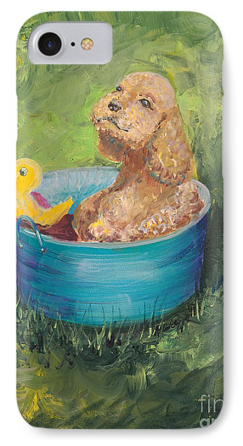 Dog IPhone 7 Case featuring the painting Summer Fun by Nadine Rippelmeyer