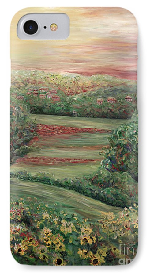 Landscape IPhone 7 Case featuring the painting Summer In Tuscany by Nadine Rippelmeyer