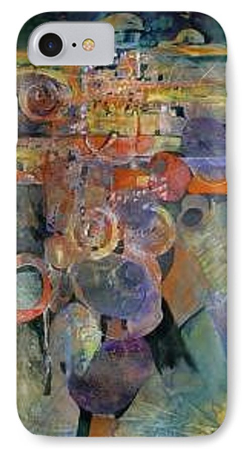 Abstract Shapes IPhone 7 Case featuring the painting Summer Night City Uneartherd by Marlene Gremillion