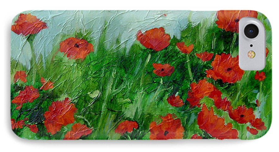Red Poppies IPhone 7 Case featuring the painting Summer Poppies by Ginger Concepcion
