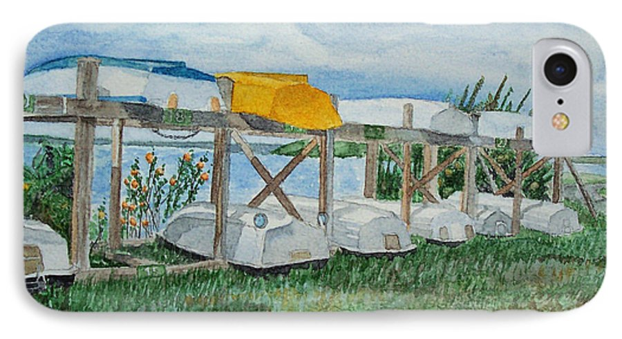 Rowboats IPhone 7 Case featuring the painting Summer Row Boats by Dominic White