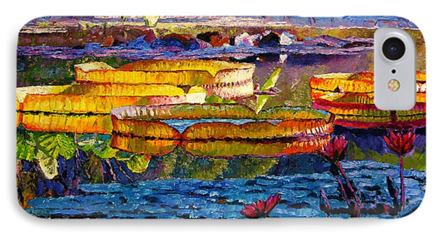 Water Lilies IPhone 7 Case featuring the painting Sun Color And Paint by John Lautermilch