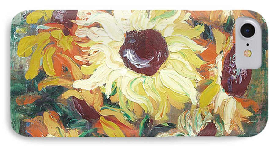Sunflowers IPhone 7 Case featuring the painting Sun In A Vase by Gina De Gorna