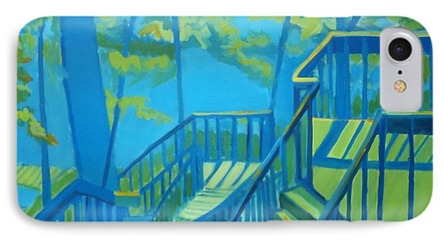 New Hampshire IPhone 7 Case featuring the painting Suncook Stairwell by Debra Bretton Robinson