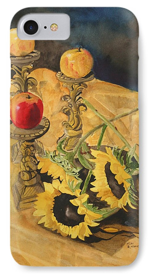 Still Life IPhone 7 Case featuring the painting Sunflowers And Apples by Jean Blackmer