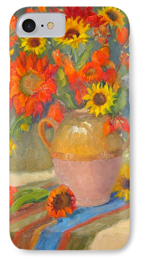 Sunflowers IPhone 7 Case featuring the painting Sunflowers And More by Bunny Oliver