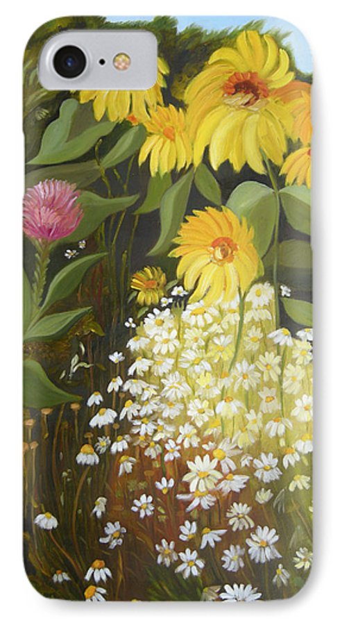 Landskape IPhone 7 Case featuring the painting Sunflowers by Antoaneta Melnikova- Hillman