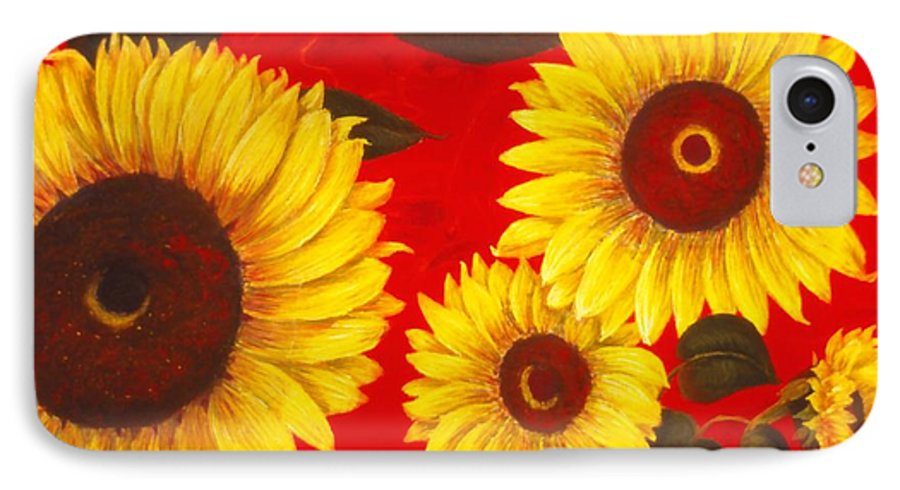 Flowers IPhone 7 Case featuring the painting Sunflowers IIi by Mary Erbert