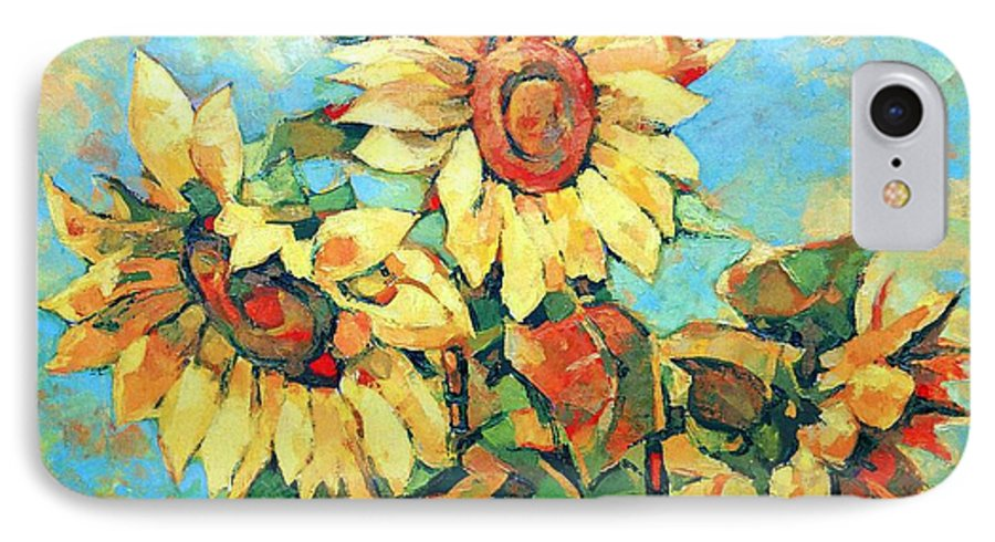 Sunflowers IPhone 7 Case featuring the painting Sunflowers by Iliyan Bozhanov