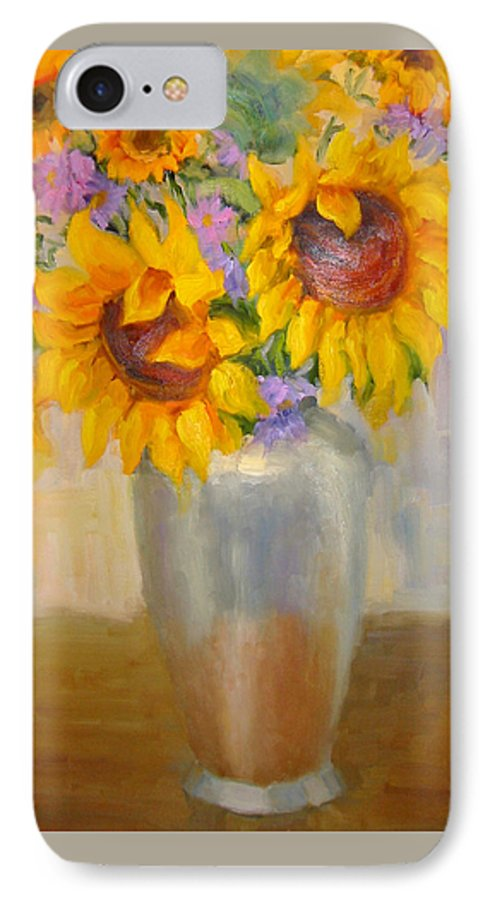 Sunflowers IPhone 7 Case featuring the painting Sunflowers In A Silver Vase by Bunny Oliver
