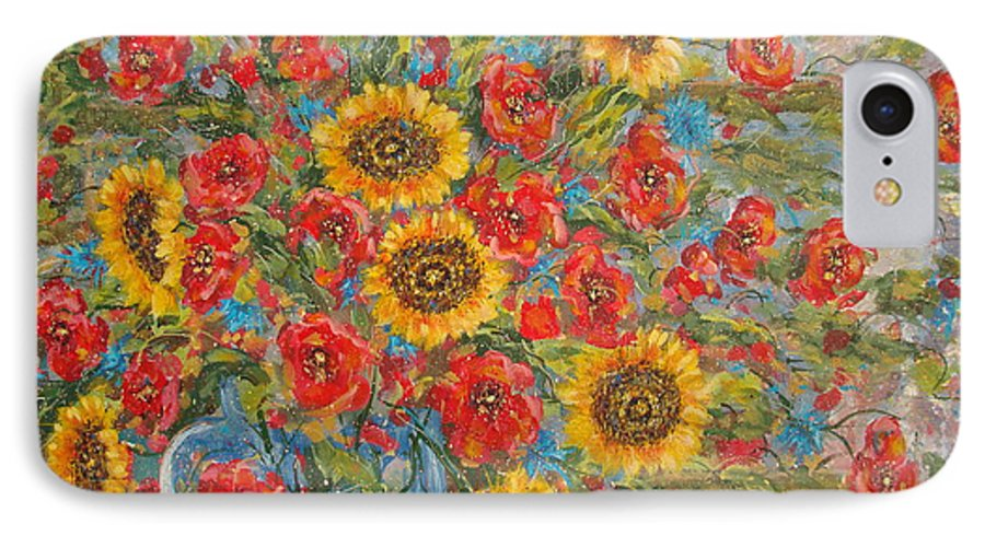 Flowers IPhone 7 Case featuring the painting Sunflowers In Blue Pitcher. by Leonard Holland