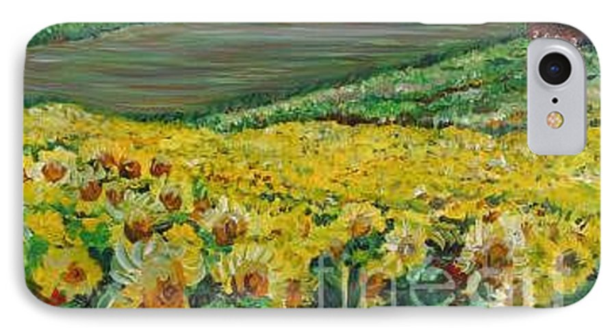 A Field Of Yellow Sunflowers IPhone 7 Case featuring the painting Sunflowers In Provence by Nadine Rippelmeyer