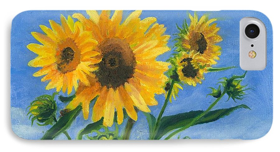Flowers IPhone 7 Case featuring the painting Sunflowers On Bauer Farm by Paula Emery