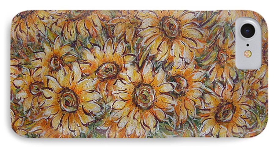 Flowers IPhone 7 Case featuring the painting Sunlight Bouquet. by Natalie Holland