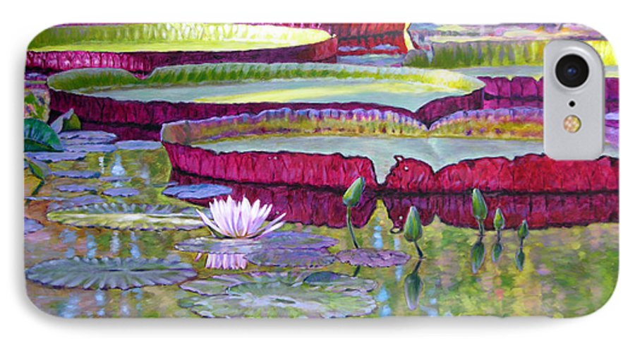 Lily Pond IPhone 7 Case featuring the painting Sunlight On Lily Pads by John Lautermilch