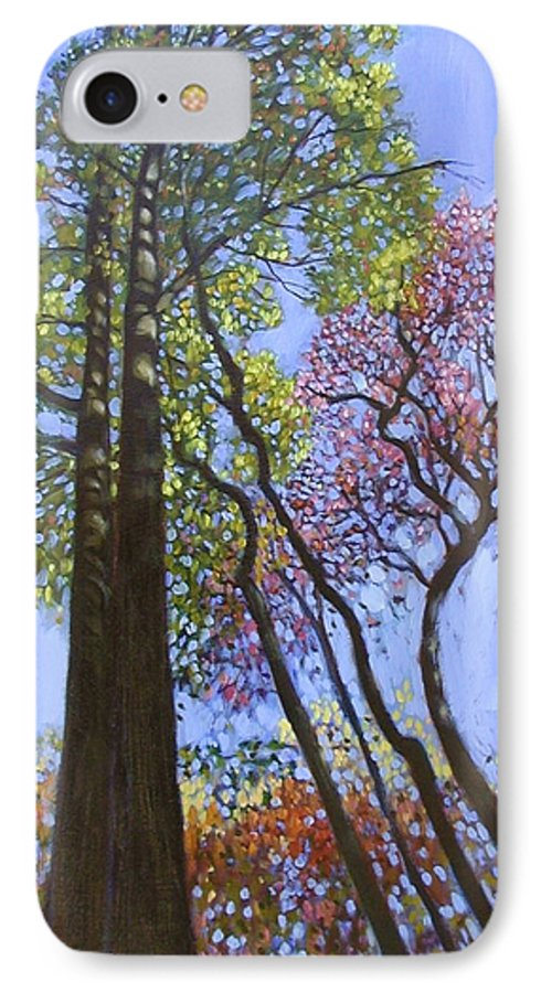 Fall Trees Highlighted By The Sun IPhone Case featuring the painting Sunlight On Upper Branches by John Lautermilch