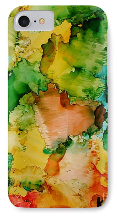 Abstract IPhone 7 Case featuring the painting Sunlit Reef by Susan Kubes