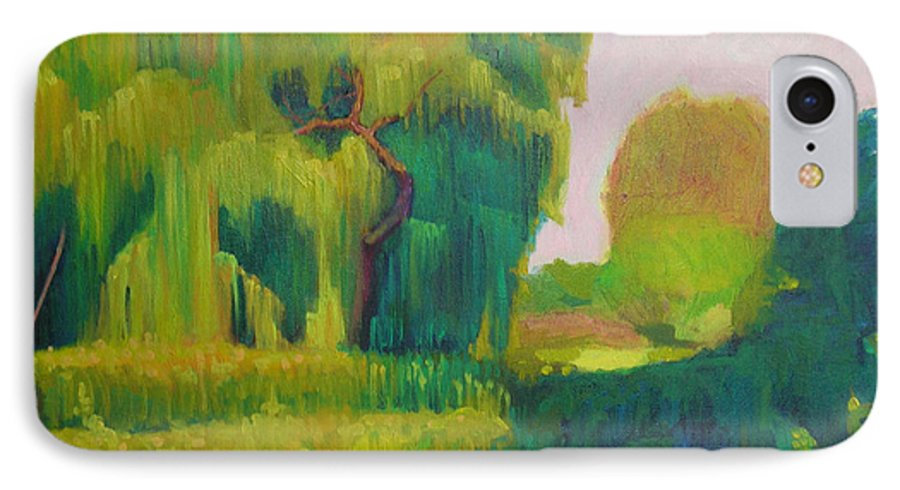 Landscape IPhone 7 Case featuring the painting Sunny Day Indian Boundary Park by David Dozier