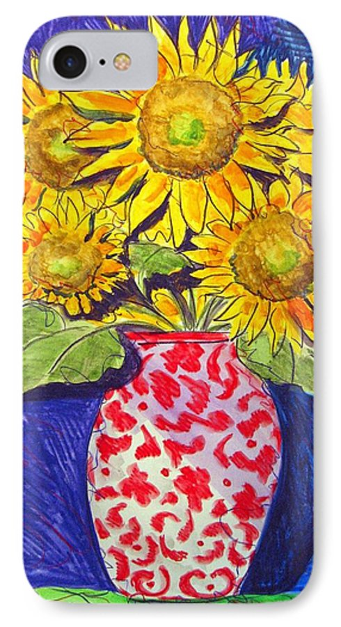 Sunflower IPhone 7 Case featuring the painting Sunny Disposition by Jean Blackmer