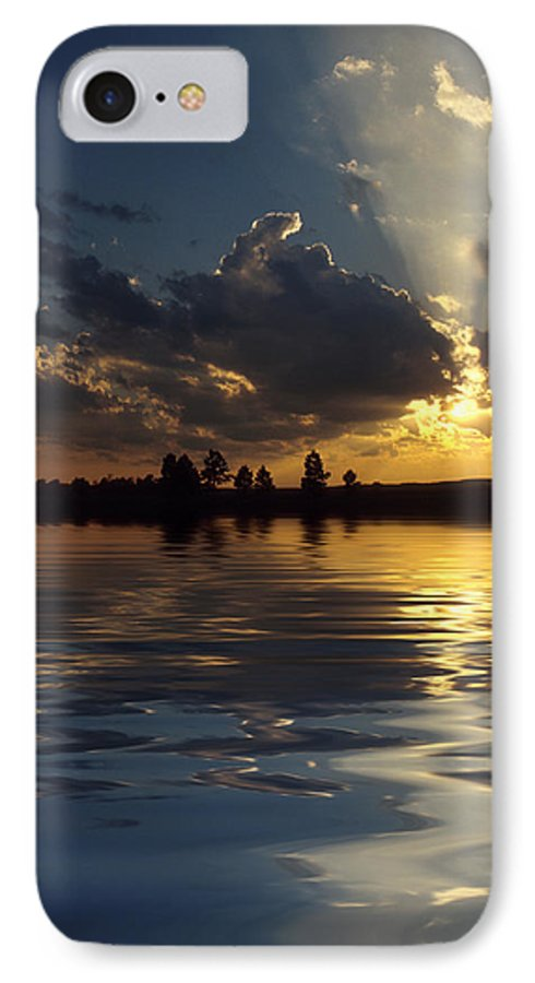 Sunset IPhone 7 Case featuring the photograph Sunray Sunset by Jerry McElroy