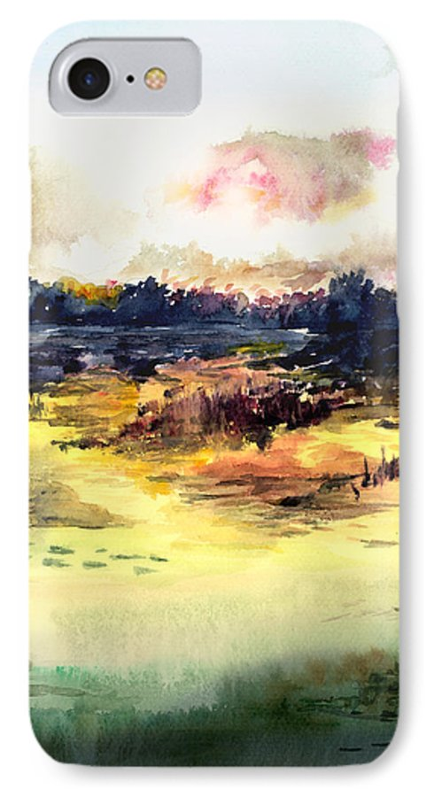 Landscape Water Color Sky Sunrise Water Watercolor Digital Mixed Media IPhone 7 Case featuring the painting Sunrise by Anil Nene