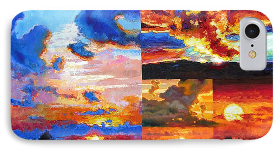 Sunrise IPhone 7 Case featuring the painting Sunrise Sunset Sunrise by John Lautermilch